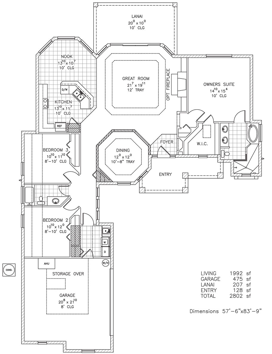 Key west custom home floor plan palm coast and flagler for Custom built homes floor plans