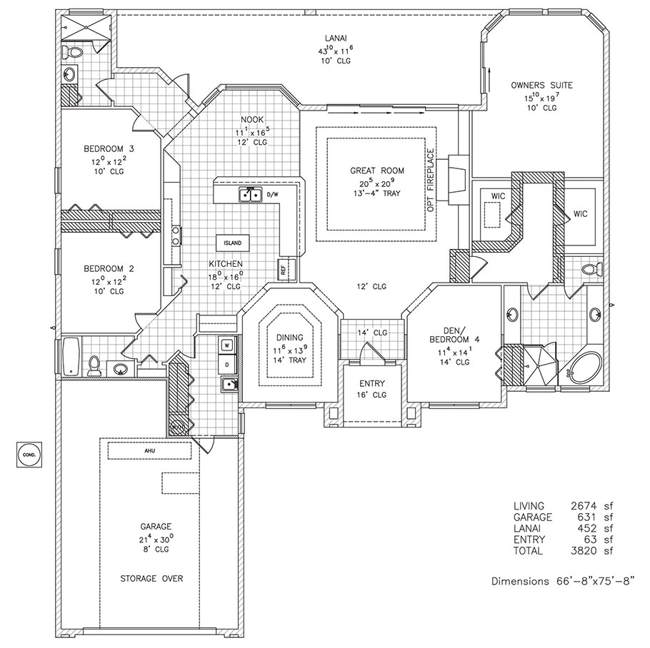 Killarney custom home floor plan palm coast and for 4 bedroom beach house plans