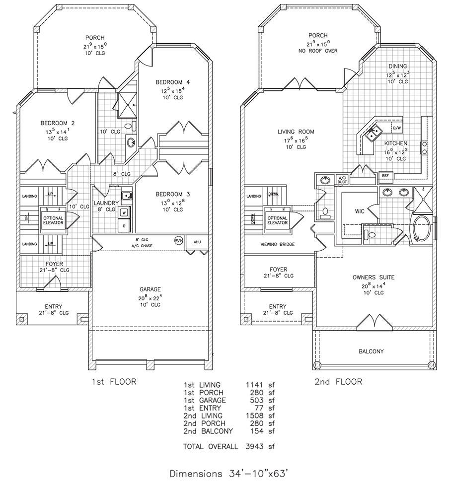 4 bedroom ocean view high tide by stoughton duran custom homes this floor plan - Ocean View Homes Floor Plans