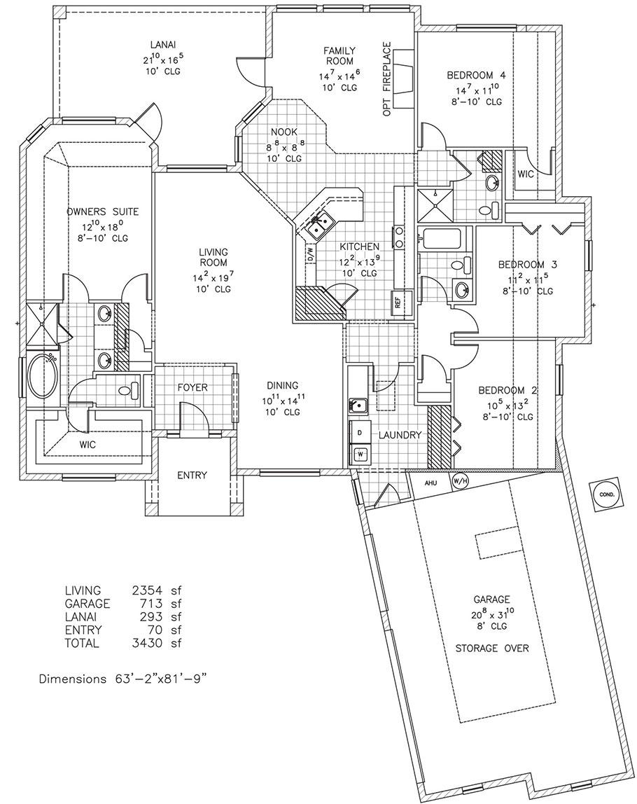 Vandiver custom home floor plan palm coast and flagler for Custom home floor plans florida