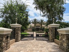 Front gate and paver driveway - manor home - Ormond Beach Florida