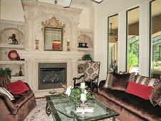 Living room with fireplace - manor home - Ormond Beach Florida