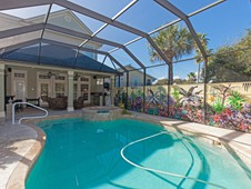Pool and landscaping - narrow lot home - Flagler Beach FL